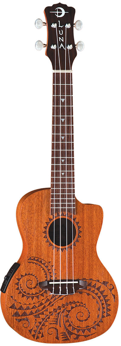 Luna Guitars Luna Uke Tattoo A/E Mahogany - elektryczne ukulele koncertowe