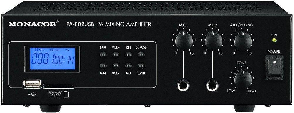 Monacor Wzmacniacz miksujący PA, mono PA-802USB