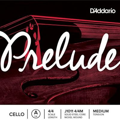 D'Addario j10114/4m Prelude Cello pojedyncze 'A' Niklowo owinięta strun 4/4Medium J1011 4/4M