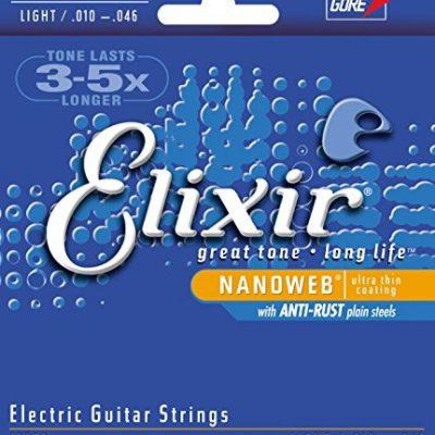 Elixir 12052 struny do gitary elektrycznej, owijka Nanoweb, naciąg light, 6 strun E12052