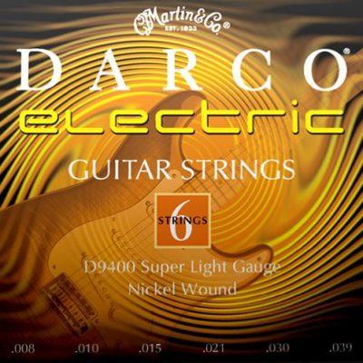 Martin darco gitara struny do gitara elektryczna (Nickel oplotowi, Super Light, grubość 0.0080.039) D9400