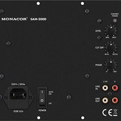 Monacor sam-200d klasy D-Aktywny moduł subwoofera, 200W przy 4omach Czarny 32.0780