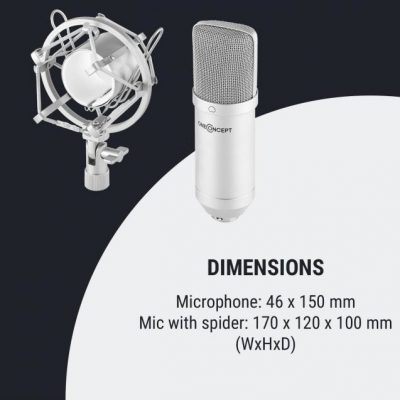 OneConcept OneConcept Mic-700 Mikrofon studyjny  34 mm jednokierunkowy uchwyt/pająk mikrofonowy osłona przed wiatrem XLR srebrny BTF11-Mic-700, sl