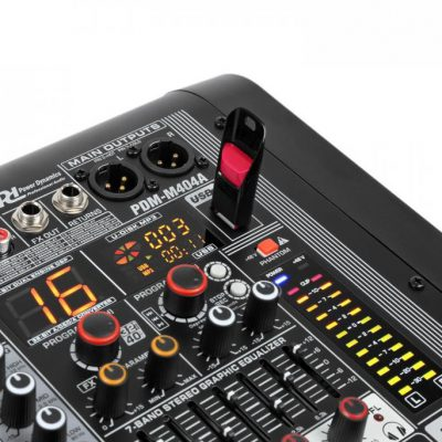 Power Dynamics PDM-M404A mikser muzyczny 4 wejścia mikrofonowe 24-bitowy procesor Multi FX odtwarzacz USB Sky-172.610