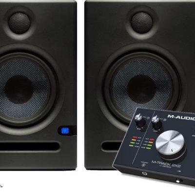 PreSonus Eris E5 - Para monitorów + M-audio M-track 2x2 + kable - kompletny zestaw 30216