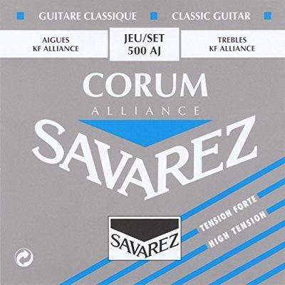 Savarez struny do gitary klasycznej typu Corum 500AJ z dłuższym wybrzmiewaniem, kolor niebieski 500AJ
