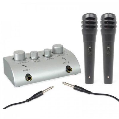 Skytec 2-kanałowy minimikser karaoke z 2 mikrofonami Sky-103.112