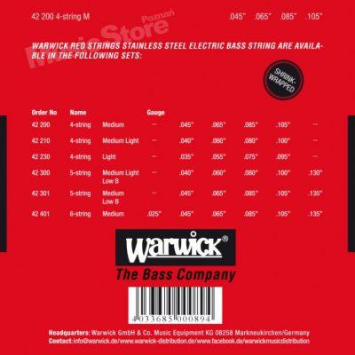 Warwick RED Strings Stainless Steel .045-.105